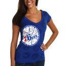 Philadelphia 76ers Women's Burnout V-Neck T-Shirt - Royal Blue