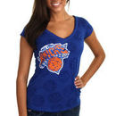 New York Knicks Women's Burnout V-Neck T-Shirt - Royal Blue