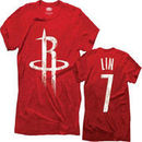 Jeremy Lin Houston Rockets Premium Tri-Blend Name & Number Tee - Red
