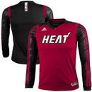adidas Miami Heat Youth On-Court Impact Long Sleeve Shooting Shirt - Red/Black
