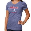 Atlanta Braves Women's Plus Size Tri-Blend Script V-Neck T-Shirt - Navy Blue