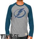 Original Retro Brand Tampa Bay Lightning Raglan Long Sleeve T-Shirt - Ash/Navy Blue