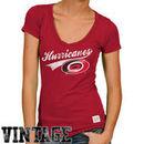 Original Retro Brand Carolina Hurricanes Women's Deep V-Neck Slim Fit T-Shirt - Red