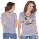 Touch by Alyssa Milano Jeff Gordon Women's Valentina V-Neck T-Shirt - Gray