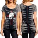 Affliction Whiskey Glitter Juniors Slim Fit T-Shirt - Black