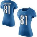 Calvin Johnson Detroit Lions Nike Women's Player Name & Number T-Shirt - Light Blue