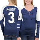 Dion Phaneuf Toronto Maple Leafs Reebok Women's Faceoff Player Lace-Up Long Sleeve T-Shirt - Royal Blue
