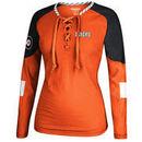 Philadelphia Flyers Reebok Women's Lace-Up Long Sleeve Hockey Top - Orange/Black