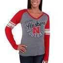 Nebraska Cornhuskers Franchise V-Neck Raglan Tri-Blend Long Sleeve T-Shirt - Gray