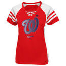 Washington Nationals Majestic Women's Draft Me V-Neck Lace-Up T-Shirt - Red