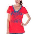 Denver Nuggets Women's Hardwood Classics Back Court Logo V-Neck T-Shirt - Red