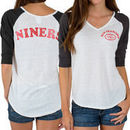 San Francisco 49ers Junk Food Women's Victory Tri-Blend V-Neck Three-Quarter Sleeve T-Shirt - White