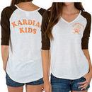 Cleveland Browns Historic Logo Junk Food Women's Victory Tri-Blend V-Neck Three-Quarter Sleeve T-Shirt - White