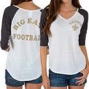 New Orleans Saints Junk Food Women's Victory Tri-Blend V-Neck Three-Quarter Sleeve T-Shirt - White