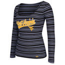 West Virginia Mountaineers adidas Women's My Glow Striped Tri-Blend Long Sleeve T-Shirt - Navy Blue
