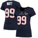 JJ Watt Houston Texans Majestic Women's Fair Catch V Name & Number T-Shirt - Navy Blue