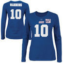 Eli Manning New York Giants Majestic Womens Fair Catch V Name and Number Long Sleeve T-Shirt - Royal Blue