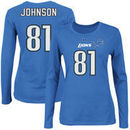 Calvin Johnson Detroit Lions Majestic Womens Fair Catch V Name and Number Long Sleeve T-Shirt - Blue