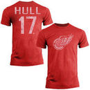 Brett Hull Detroit Red Wings Old Time Hockey Name & Number T-Shirt - Red