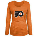 Philadelphia Flyers 5th & Ocean by New Era Women's Core Primary Logo Tri-Blend Long Sleeve T-Shirt - Orange