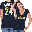 Paul George Indiana Pacers Majestic Threads Women's Name and Number Tri-Blend T-Shirt - Navy Blue