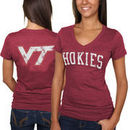 Virginia Tech Hokies Women's Slab Serif Tri-Blend V-Neck T-Shirt - Maroon