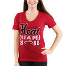 Miami Heat Women's Lifestyle Burnout Slim-Fit V-Neck T-Shirt - Red