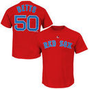Mookie Betts Boston Red Sox Majestic Official Name and Number T-Shirt - Red