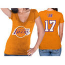 Jeremy Lin Los Angeles Lakers Majestic Threads Women's Name and Number Premium Tri-Blend T-Shirt - Gold