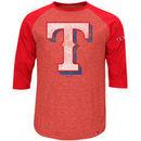 Texas Rangers Majestic Power Hit Raglan T-Shirt - Red