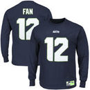 Fan 12 Seattle Seahawks Eligible Receiver II Name and Number Long Sleeve T-Shirt - College Navy