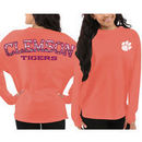 Clemson Tigers Pressbox Women's Aztec Sweeper Long Sleeve Oversized Top - Orange