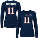 Julian Edelman New England Patriots Majestic Women's Fair Catch V Name & Number Long Sleeve T-Shirt - Navy Blue
