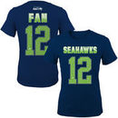 Fan 12 Seattle Seahawks Girls Youth Fade Route Name & Number T-Shirt - College Navy