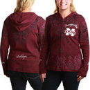 Mississippi State Bulldogs Women's All Over Print Full Zip Hoodie - Maroon