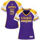 Teddy Bridgewater Minnesota Vikings Majestic Women's Draft Him Fashion Top V-Neck T-Shirt - Purple