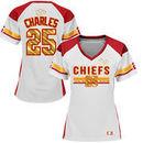 Jamaal Charles Kansas City Chiefs Majestic Women's Draft Him Fashion Top V-Neck T-Shirt - White