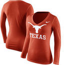 Texas Longhorns Nike Women's Logo Mid V-Neck Long Sleeve T-Shirt - Burnt Orange