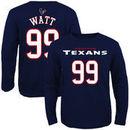 JJ Watt Houston Texans Youth Primary Gear Name & Number Long Sleeve T-Shirt - Navy Blue