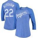 Clayton Kershaw Los Angeles Dodgers Majestic Threads Women's Name & Number Tri-Blend Three-Quarter Length Raglan T-Shirt - Royal