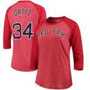 David Ortiz Boston Red Sox Majestic Threads Women's Name & Number Tri-Blend Three-Quarter Length Raglan T-Shirt - Red