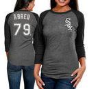Jose Abreu Chicago White Sox Majestic Threads Women's Name & Number Tri-Blend Three-Quarter Length Raglan T-Shirt - Black