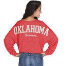 Oklahoma Sooners chicka-d Women's Cropped Varsity Jersey Long Sleeve Top - Crimson