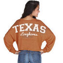 Texas Longhorns chicka-d Women's Cropped Varsity Jersey Long Sleeve Top - Burnt Orange