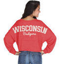Wisconsin Badgers chicka-d Women's Cropped Varsity Jersey Long Sleeve Top - Red