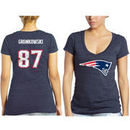 Rob Gronkowski New England Patriots Women's Tri-Blend Name & Number T-Shirt - Navy