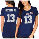Odell Beckham Jr. New York Giants Majestic Women's Fair Catch V Name & Number T-Shirt - Royal Blue