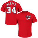 Bryce Harper Washington Nationals Majestic Official Name and Number T-Shirt - Red