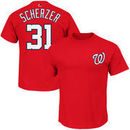 Max Scherzer Washington Nationals Majestic Official Name and Number T-Shirt - Red