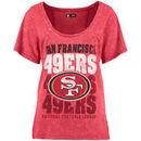 San Francisco 49ers 5th & Ocean by New Era Women's Mineral Wash Hi-Lo T-Shirt - Scarlet